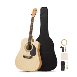 Artall 41 Inch Handmade Solid Wood Acoustic Cutaway Guitar Beginner Kit